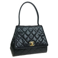 CHANEL CC Logos Quilted Small Hand Bag Purse Black Leather 3485522 36767