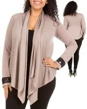B13 Womens Brown Plus Size 22/24 Long Sleeves Knit Work Warm Outerwear Cardigan