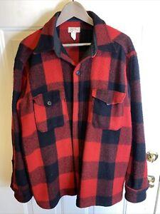 Vtg LL Bean Heavyweight Wool Shirt Jacket. Red Checks Plaid Men's XL Made in USA
