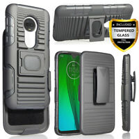For Motorola Moto G7 Power/Plus/Supra Case With Belt Clip Holster+Tempered Glass