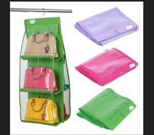 Handbag File Purse Organizer Rack Closet Display 6 Pocket Clear Storage Hanger