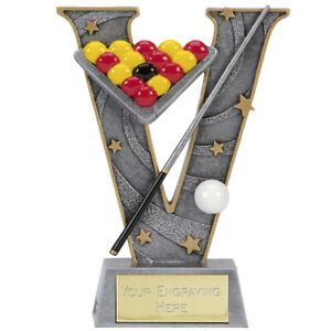 T2353 twt Snooker,Pool Trophy,Sandstone Colour,Marble Base,215mm,FREE Engraving