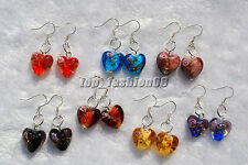 FREE wholesale 6pairs Heart Flower 3D murano glass bead Silver Dangle earring