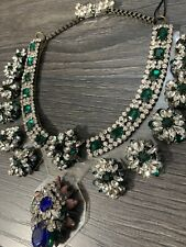 Ex-brand SHOUROUK STYLE Emerald Green PVC STATEMENT NECKLACE CRYSTALS BLING