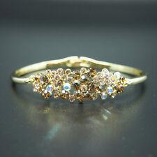 14k yellow Gold plated with Swarovski crystals elegant shiny bangle bracelet
