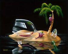 """**Michael Godard-""""LOST IN PARADISE""""-Red Wine-Beach-Hawaii-Ocean-Island-Art**MINT"""