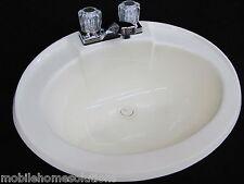 Mobile Home RV Parts. Bathroom Lav Sink w/ Faucet, Drain & Hardware Bone 20x17