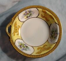 Noritake M Mark Nappy Bowl with Handle - Yellow with Purple Flowers