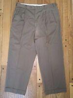 Men's Ermenegildo Zegna Brown Wool Dress Pants Slacks Pleated Cuffed Sz W33xL28