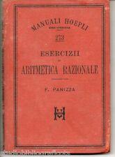 Panizza F.; ESERCIZII DI ARITMETICA RAZIONALE ;Manuali Hoepli 1898 – Prima Ediz.