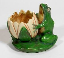 Weller Pottery Coppertone matte green brown frog & lily pad planter arts & craft