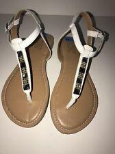 "FRANCO SARTO ""JACKPOT"" Open-Toe Buckle Sandals WHITE/CLEAR RHINESTONE 6.5M NEW"
