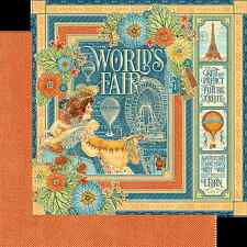 Graphic45 WORLD'S FAIR 12x12 Dbl-Sided (2pcs) scrapbooking paper VINTAGE