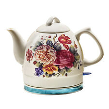 English Garden Electric Tea Kettle - White Ceramic with Floral Rose Print- 34 oz