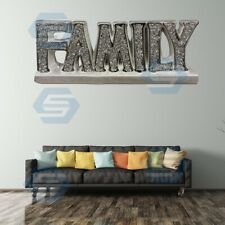 Crushed Crystal Diamond Silver FAMILY sign Ornament, home décor Shelf Sitter NEW