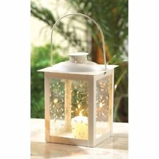 "12 Candle Lanterns Ivory w/ Etched Vine Design Glass 8"" High 11.75"" w/ Handle"