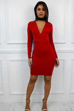 Womens Ladies Bodycon Low V Plunge Celeb Towie Pencil Party Glam Dress M Long Sleeve Red