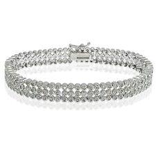 Silver Tone Brass 1ct TDW Diamond Three Row Tennis Bracelet (J-K, I3)