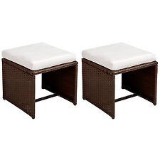 zwei Polyrattan Sitzhocker Rattanmöbel Stühle 2er Set braun B-Ware