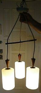 Vintage Teak Brass Glass Mid Century Modern 3 Light Chandelier