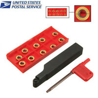 SRAPR1616H10 Milling Lathe Tool Holder + 10Pcs RPMT10T3MO Carbide Inserts Wrench