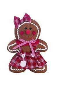 "TRANSPAC Standing Girl GINGERBREAD Figurine Size 13 x 10"" New SHIP FREE Corduroy"