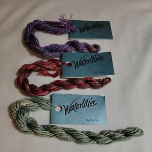 Lot of 3 Skeins WATERLILIES BY CARON 12 PLY SILK HAND PAINTED Variegated Italy