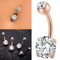 Zircon Crystal Belly Button Ring Surgical Steel Navel Ombligo Piercing Jewelry