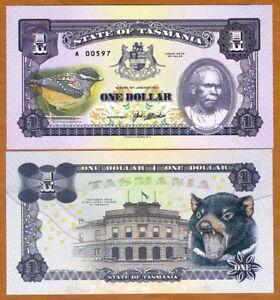 Tasmania, Australia, $1, 2017, Private Issue, UNC > Tasmanian Devil, Truganini