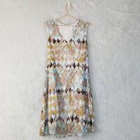 Noa Noa Silk Blend Geometric Print Shift Dress Women's Size Small