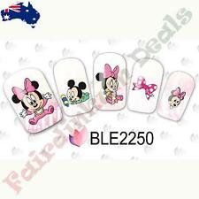20 Mickey & Minnie Mouse Cartoon Nail Art Stickers Water Decals BLE2250