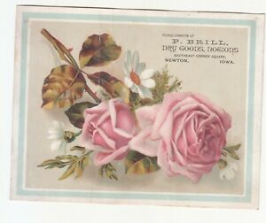 P B Brill Dry Goods Notions Newton Iowa Pink Rose Daisy Vict Card c1880s