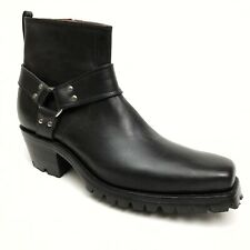 CABOOTS Men's Motorcycle Ankle Boots Black Leather Side Zipper Vibram Sz 12 EUC