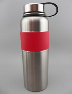 EXQUIS Stainless Steel Water Bottle 40 oz. with Screw Top Lid & Red Band GUC