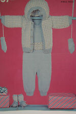 Baby's All-in-One, Hooded Jacket, Mittens and Bootees Knitting Pattern (BB02)