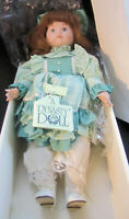 "Vintage Dynasty Collection ""Kristin"" Porcelain Doll 16"" Brown Hair Blue Eyes Box"