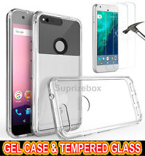 Ultra Thin Clear GEL Case Cover Tempered Glass Screen Protector for Huawei Phone Honor 7