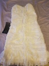 Bebe white lace ruffle fitted bodycon mini dress bridal elegant cocktail NWT xs