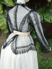 ANTIQUE HIGH VICTORIAN BUSTLE EVENING OVER-DRESS /JACKET c.1868- 1874