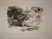 Ecole FRANCAISE XIX GRAVURE EAU FORTE BARBIZON CHARLES JACQUE CHAIGNEAU 1850