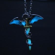 Luminous Dragon Sword Pendant Necklace Titanium Steel Jewelry Glow In The Dark
