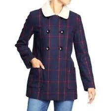 OLD NAVY Women's Wool Blend Navy & Pink Plaid Print Peacoat Sz XS (NWT)