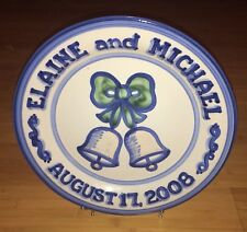"MA M A Hadley Large 12-3/4"" Round Wedding Plate Charger Elaine & Michael 2008."