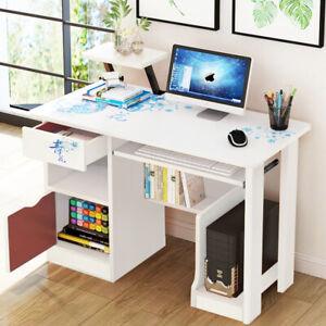 Small Computer Kids Desk Table Drawer Shelves Office Home Corner Writing Study