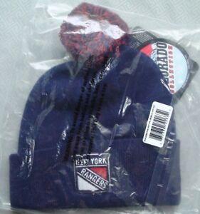 Kids Teen NHL New York Rangers Pom Raised Embroidered Cuff Beanie 6-16 Year Old