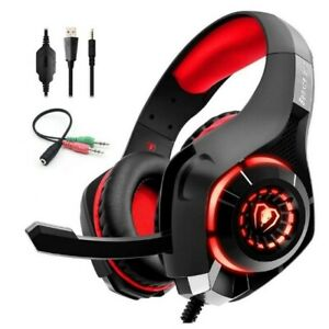 Casque Gaming Gamer PS4 Xbox One S PC Micro Pro Anti Bruit Jeux Stéréo Rouge FR