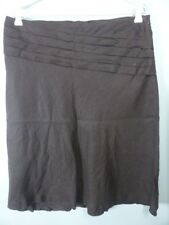 $9.95 SKIRT SALE!! brown pleated BROWN SUGAR 100% LINEN aline skirt 14
