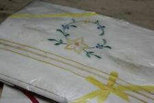 More details for vintage new unused embroidered linen pillow & bolstercover slips sets