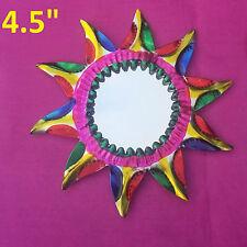 """El Sol de Arco Iris Art Mexican Handmade Tin Ornament Mirror Milagro 2/$16 4.5"""""""