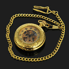 Gold Plated Skeleton Mens Self Winding Mechanical Automatic Pocket Watch